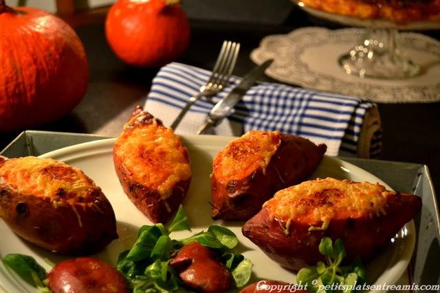 Patates douce farcie de sa purée gratinée