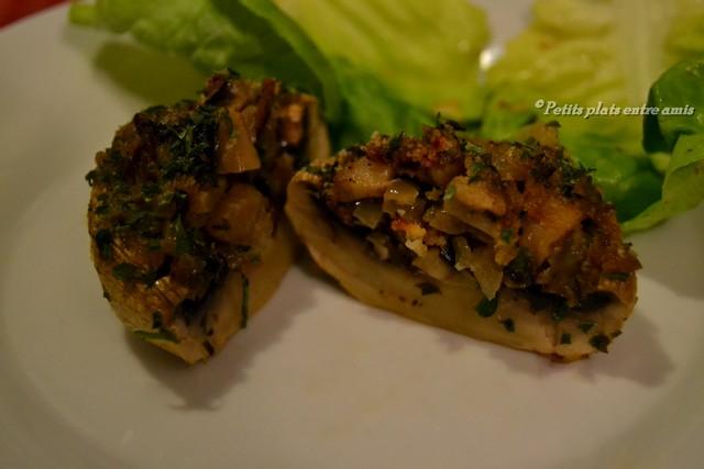 champignons farcis coupés