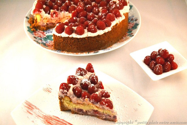 présentation cheesecake framboises