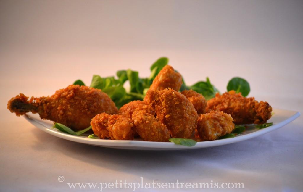 assiette de poulet pané