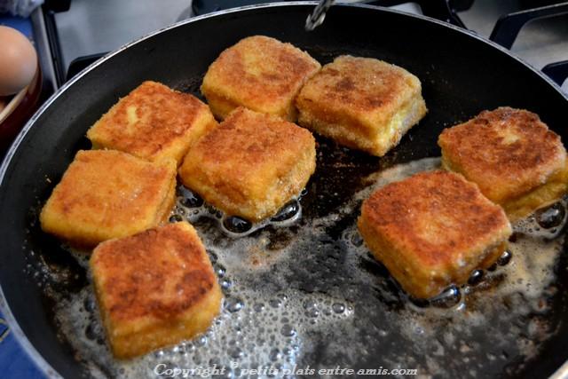 pain perdu au 3 fromages dans poêle