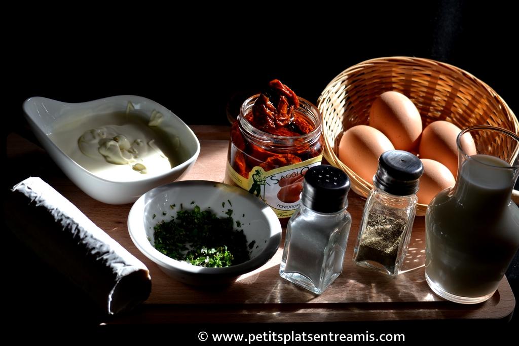 ingrédient pour flan au chèvre et basilic