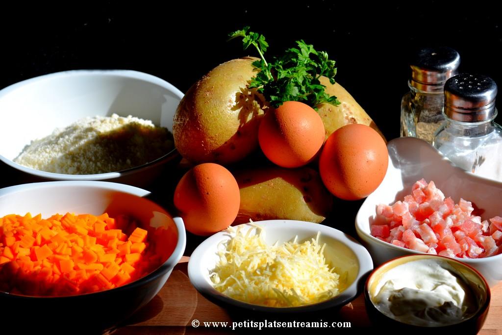 ingrédients pour pommes de terre soufflées