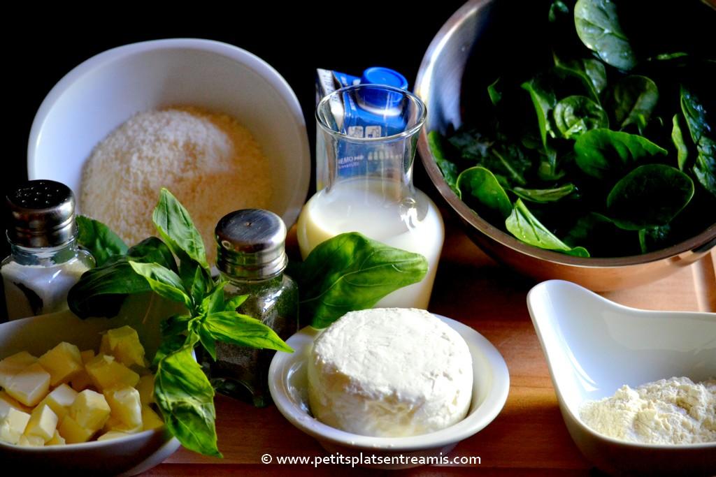 ingrédients raviolis aux épinards