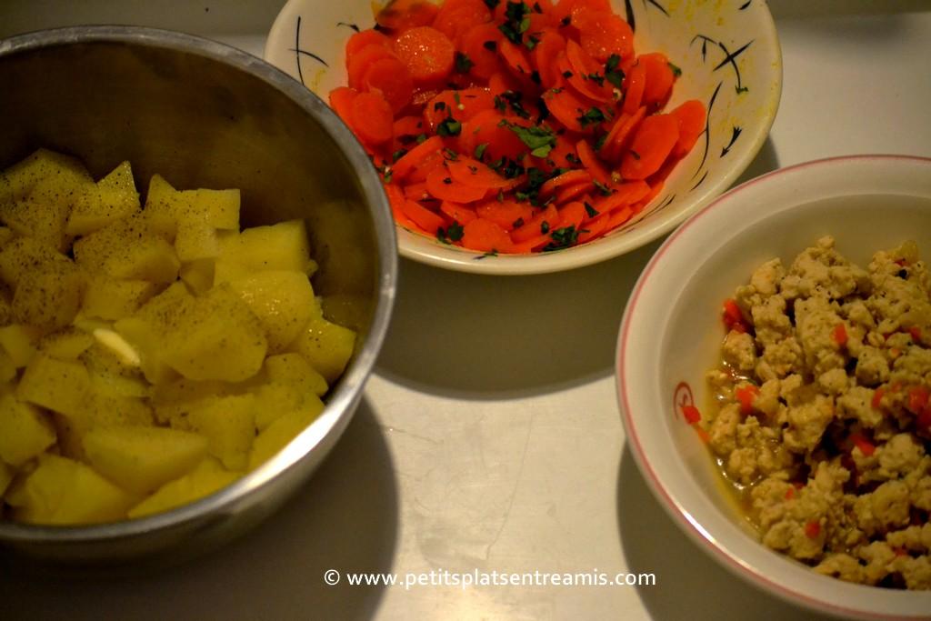 légumes et poulet pour parmentier