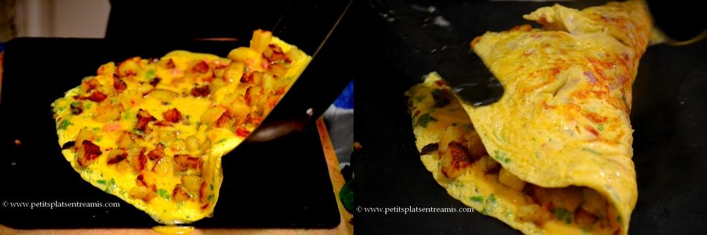 omelette ouverte et pliée