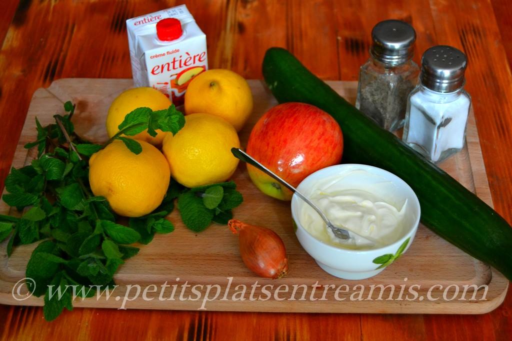 ingédients pour recette concombre à la crème revisité