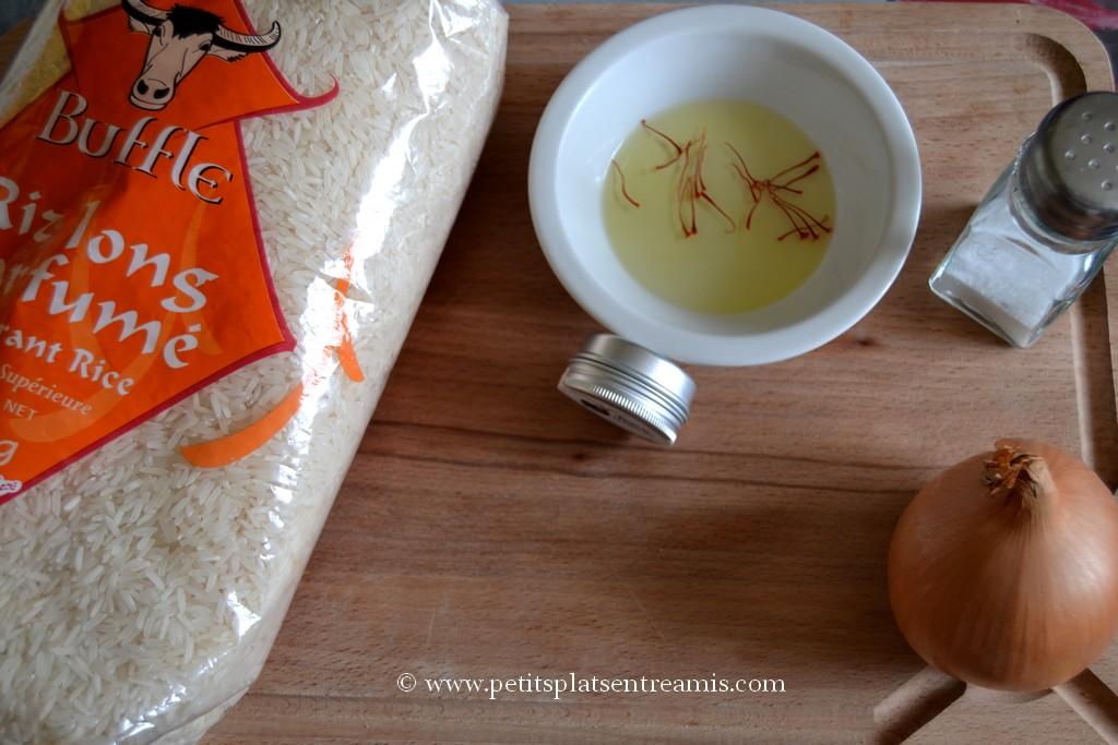 ingrédient riz pilaf au safran