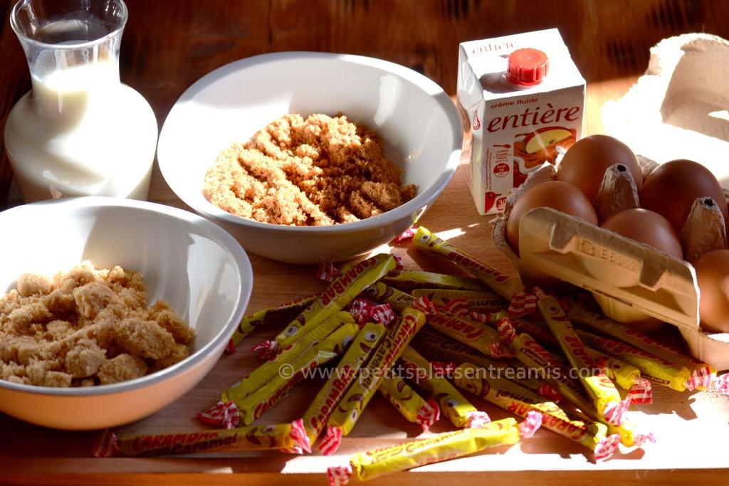 ingrédients pour crème brûlée au carambar