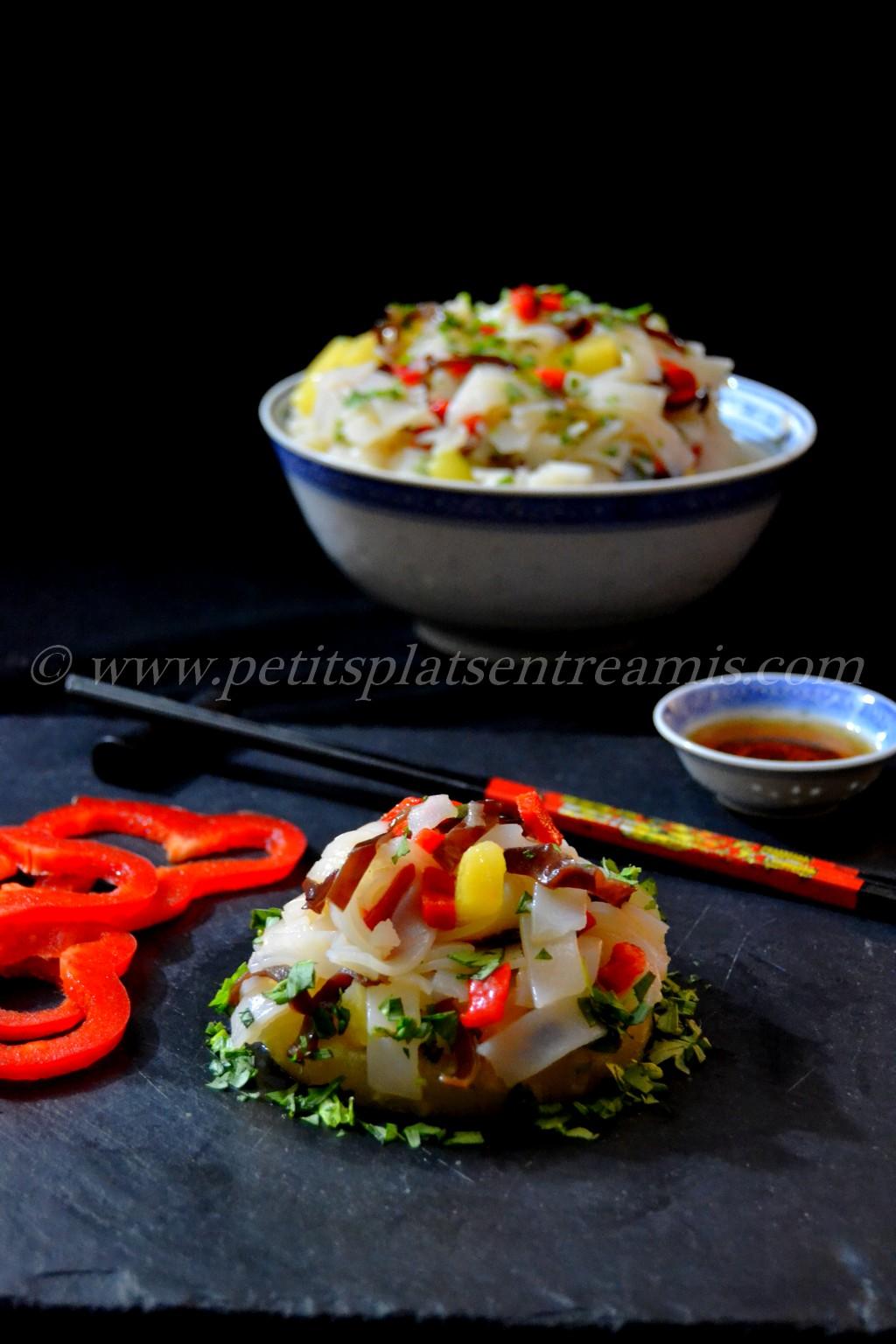 présentation salade de nouilles chinoises