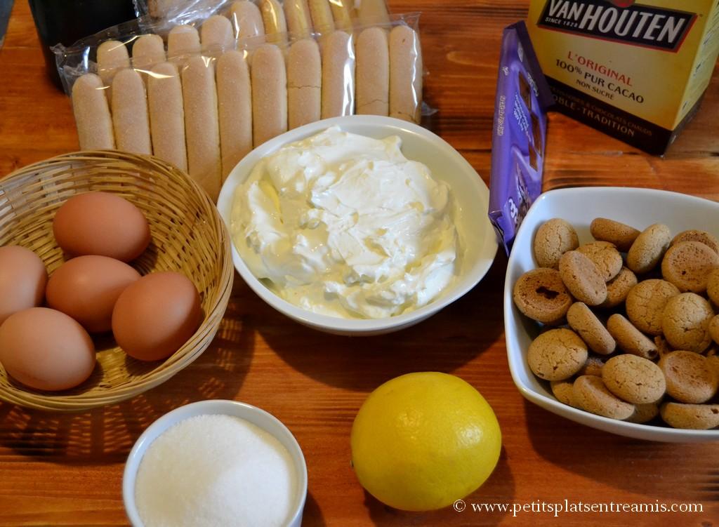 Ingrédients pour tiramisu aux amaretti