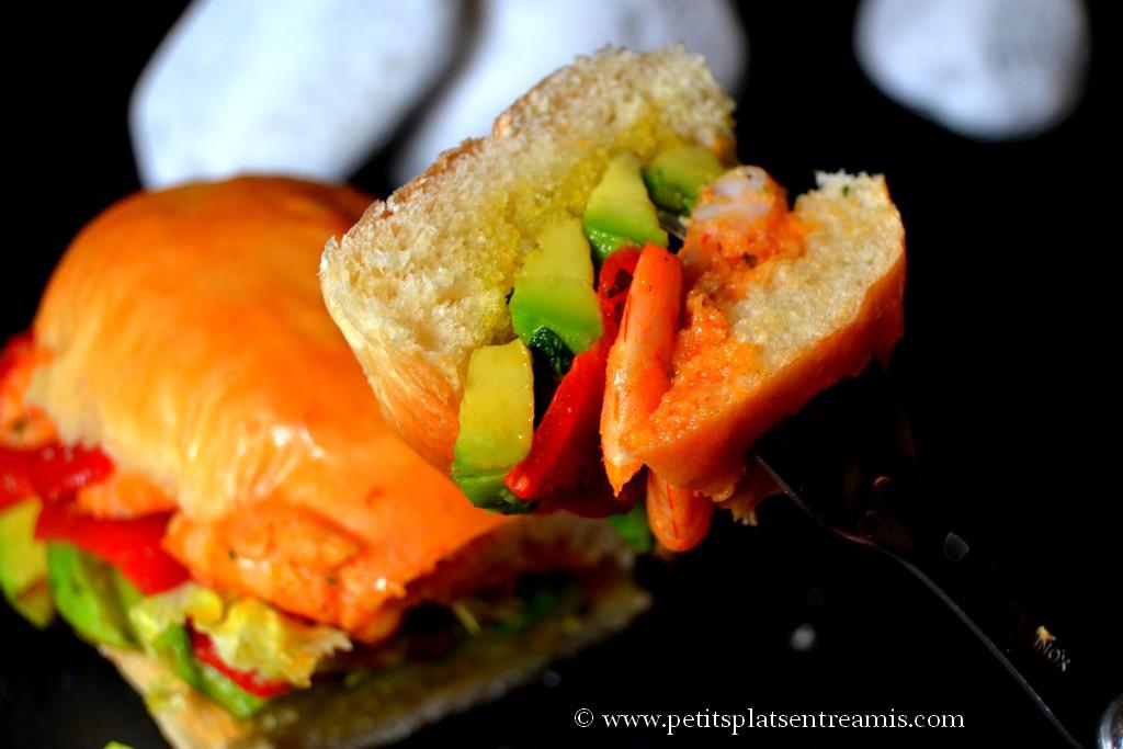 bouchée burger avocat crevettes