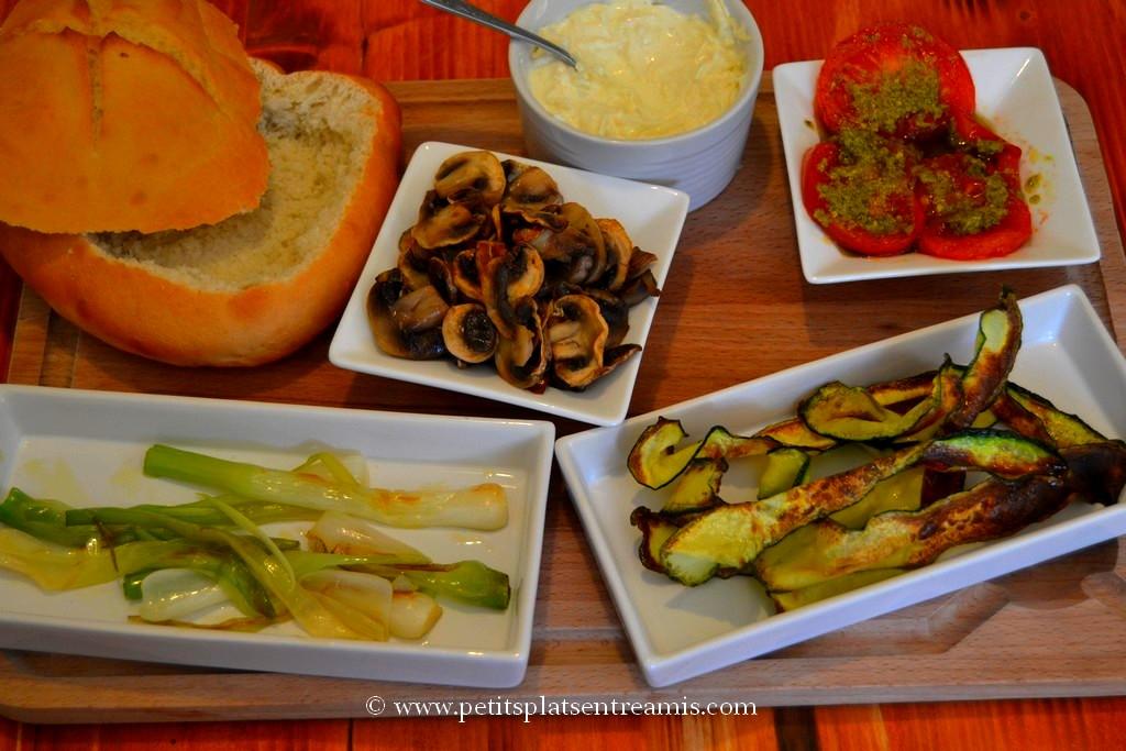 ingrédient cuits pour pain-panier farci