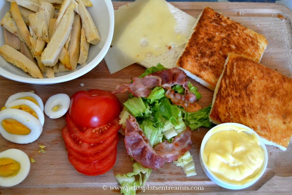 ingrédients cuits pour club sandwich
