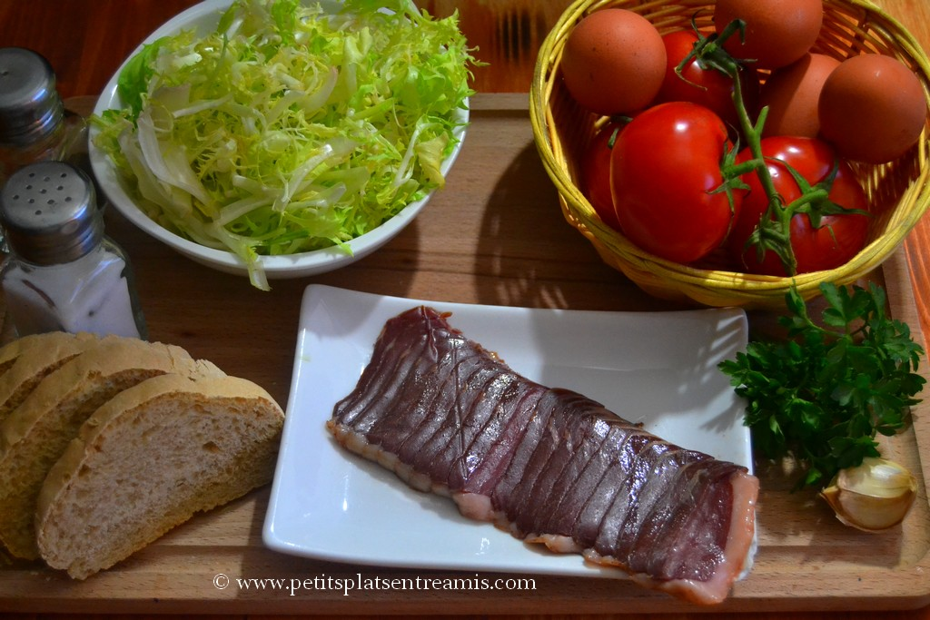 ingrédients salade d'oeufs frits
