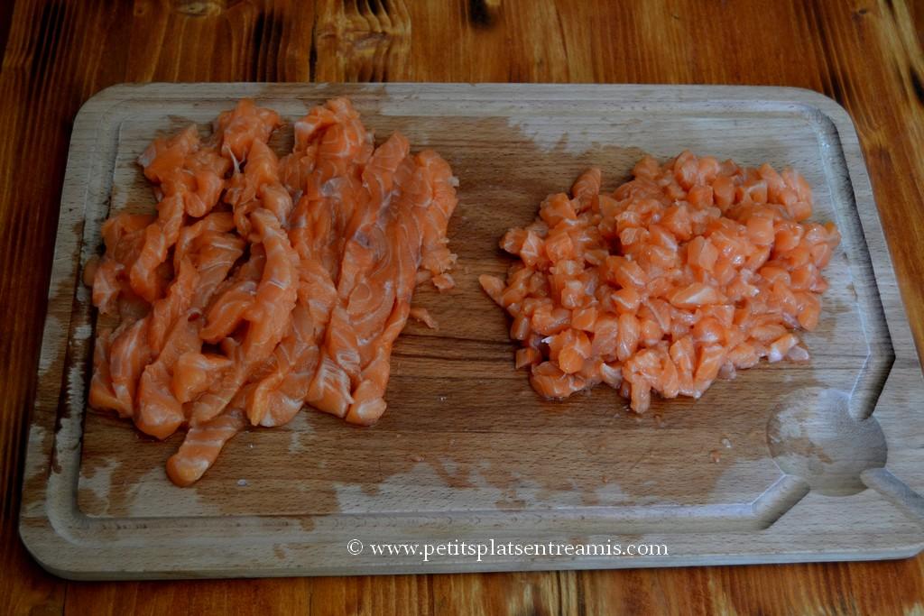 saumon coupé pour tartare