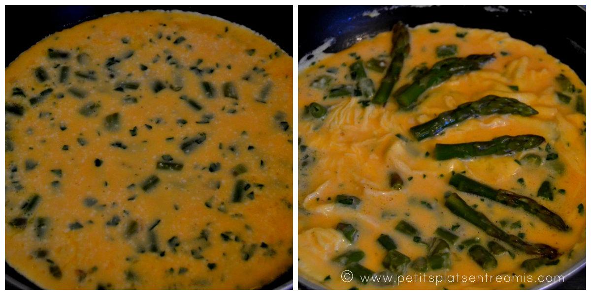cuisson de l'omelette aux asperges