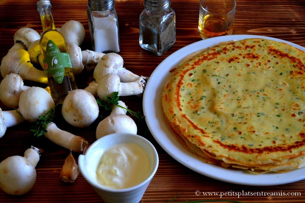 ingrédients pour aumonière de champignons flambés à l'armagnac