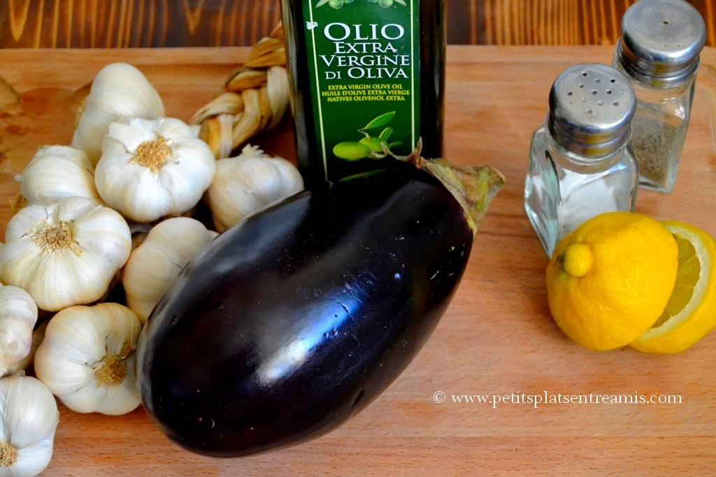 ingrédients pour caviar d'aubergine