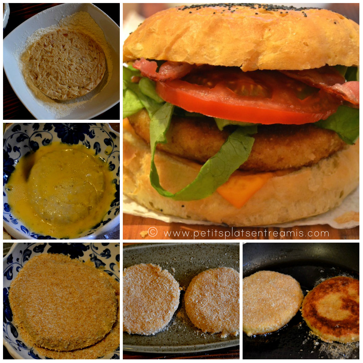 montage hamburger au poulet