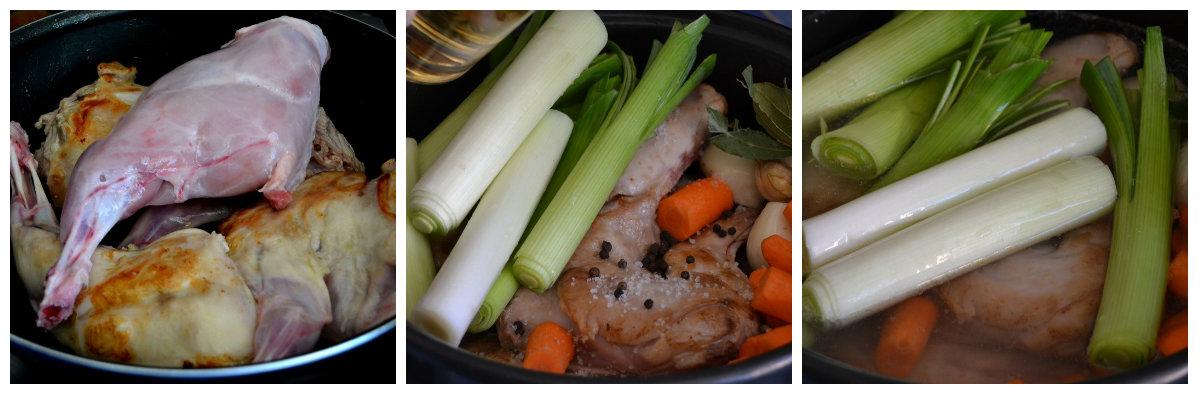 préparation blanquette de lapin