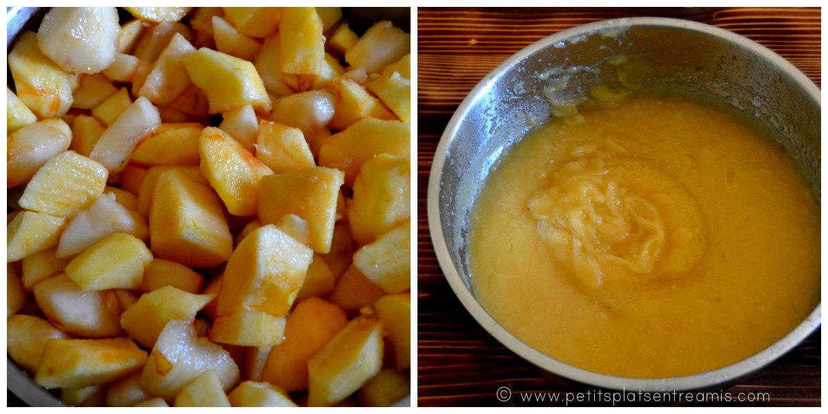 préparation compote de pommes & poires
