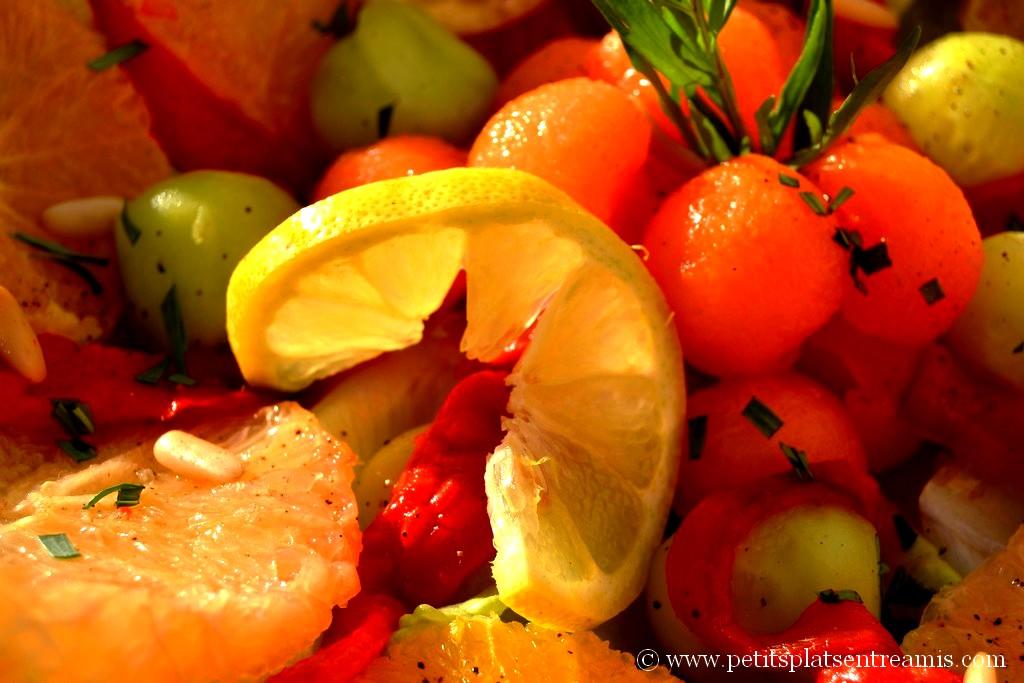 gros plan salade légère aux couleurs du printemps