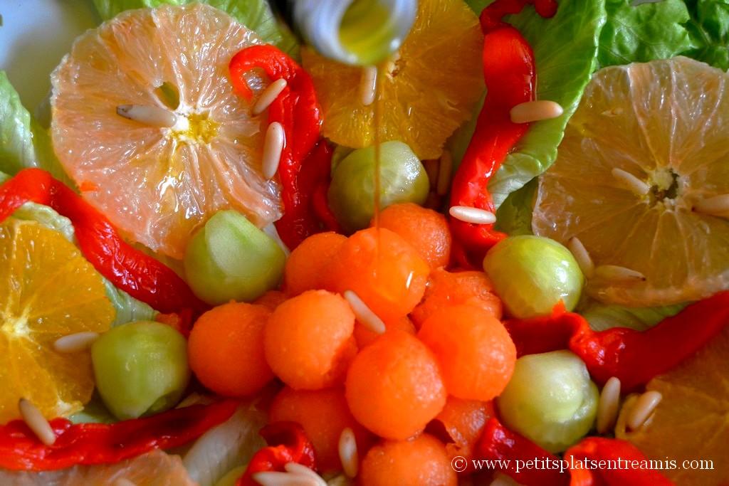 huile d'olive sur salade légère minceur