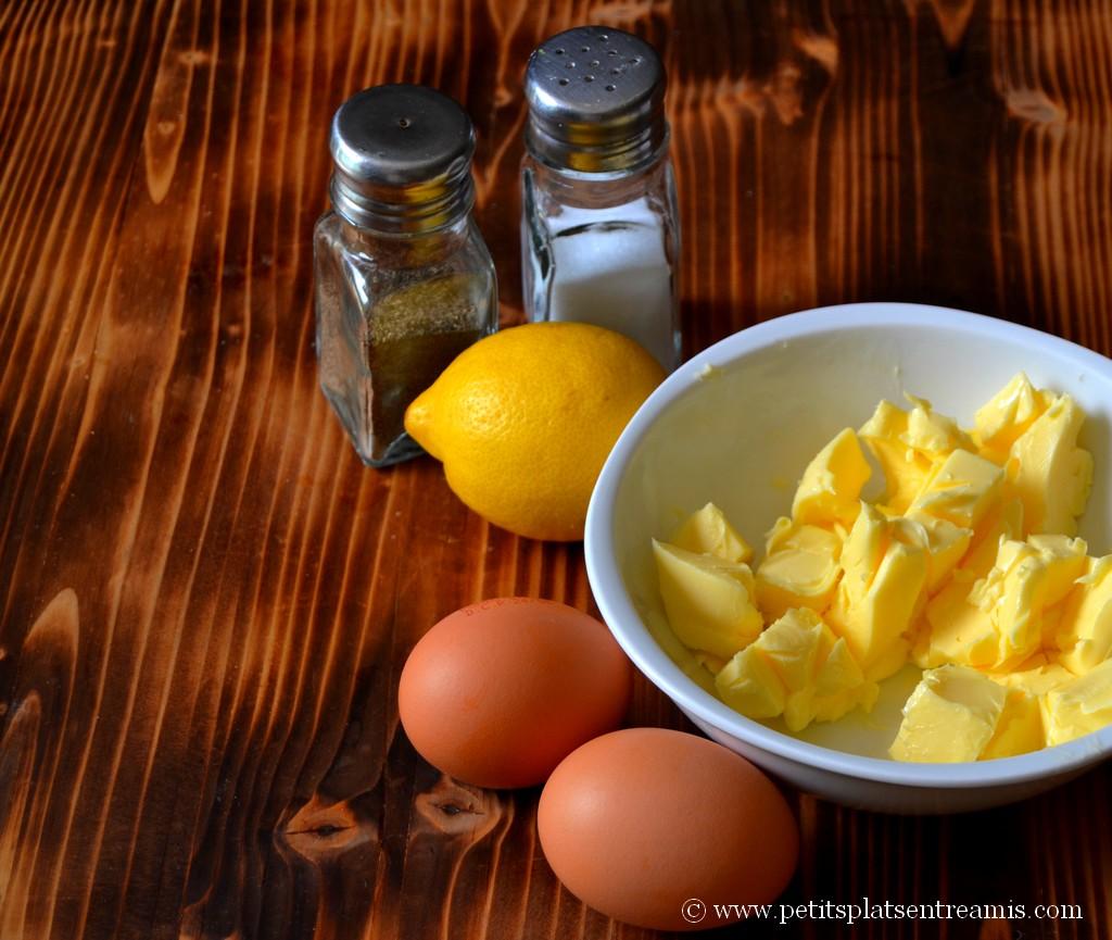 ingrédients pour sauce hollandaise