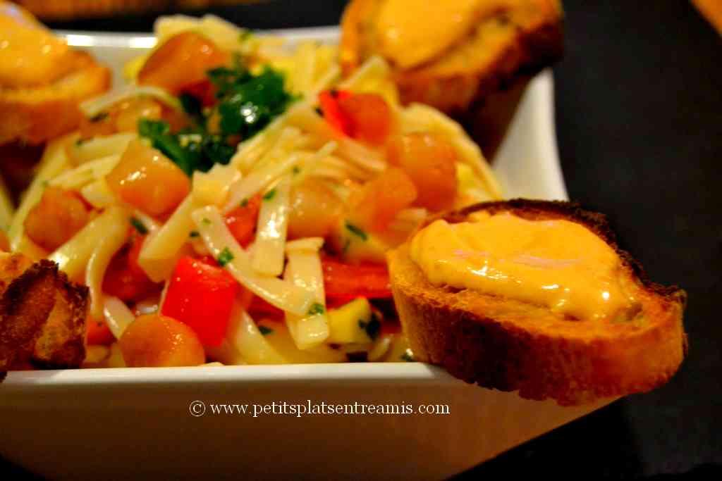 crouton de tarama sur salade de Pâtes