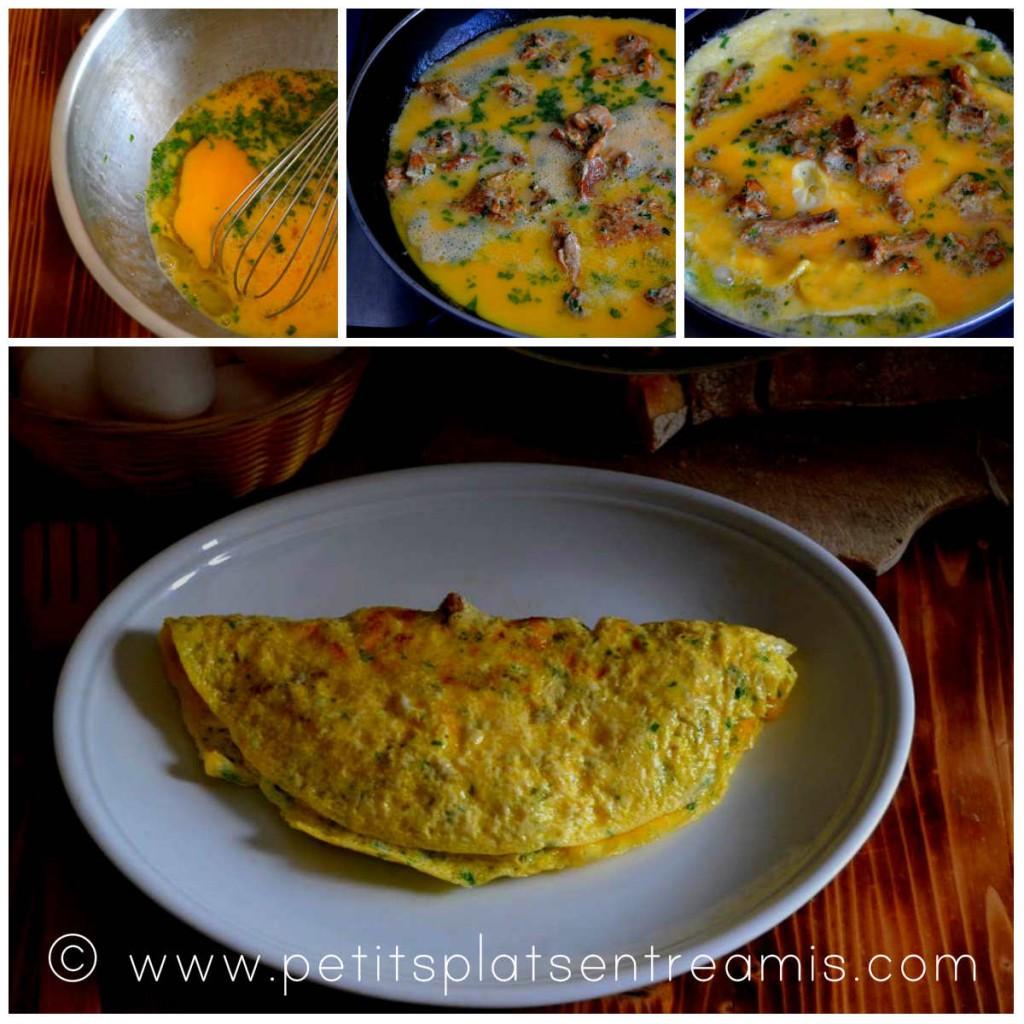 cuisson de l'omelette aux girolles