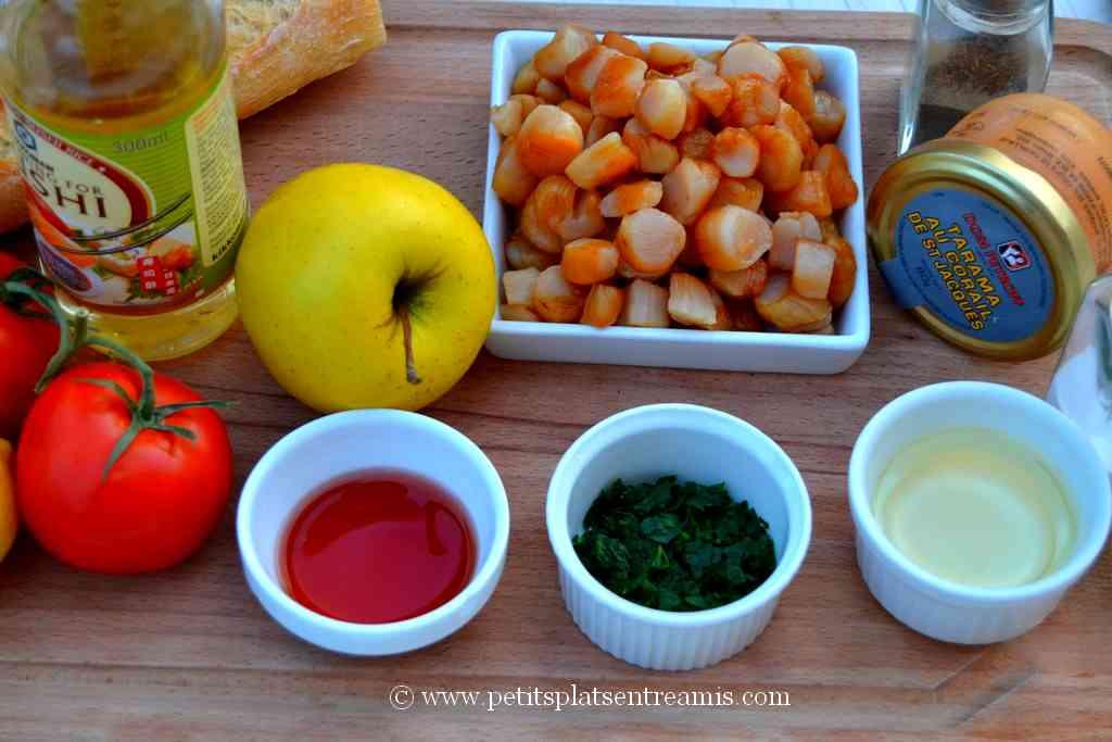 ingrédients pour salade de pâte aux noix de st jacques