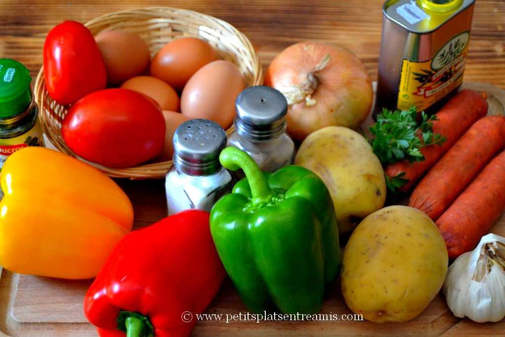 ingrédients pour tortilla poivron chorizo