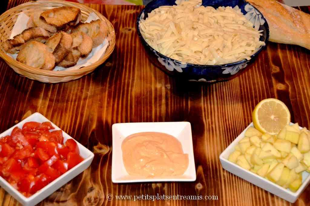 ingrédients préparés pour salade de noix de st jacques