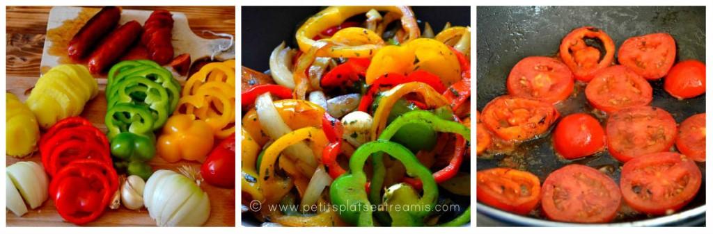 préparation des légumes pour tortillas