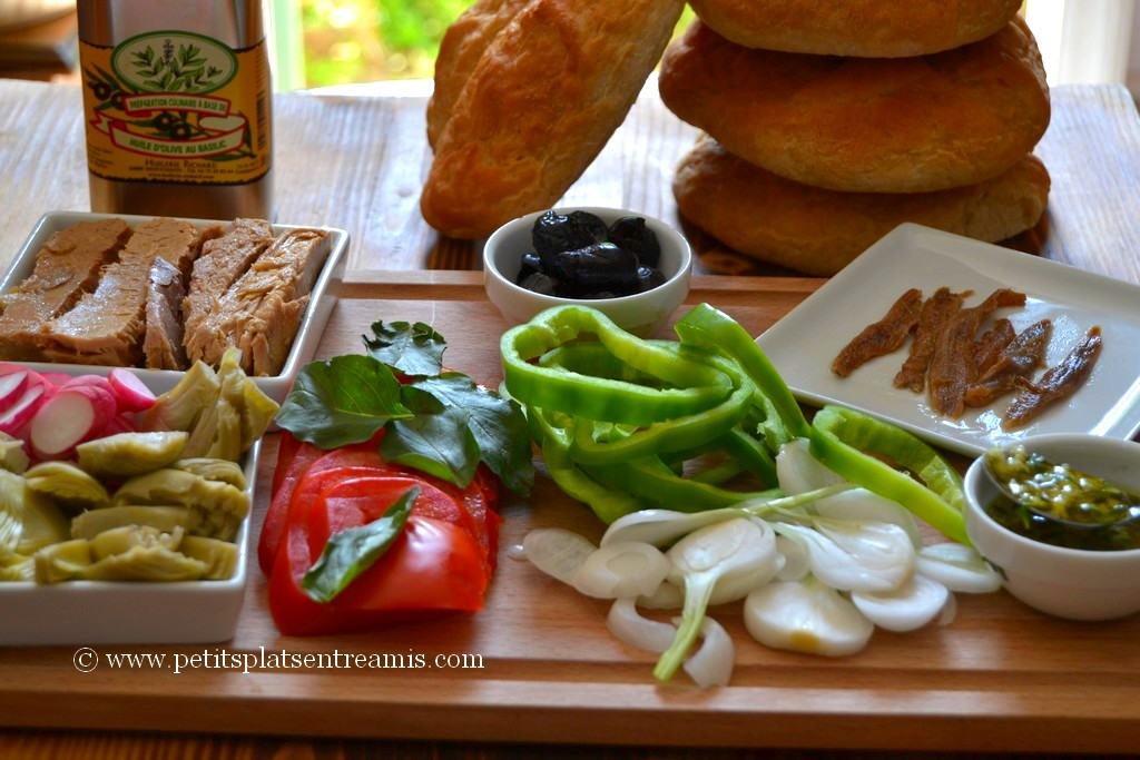 préparation ingrédient pan bagnat