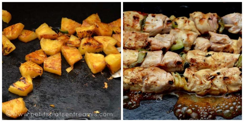 cuisson des brochettes et de l'ananas