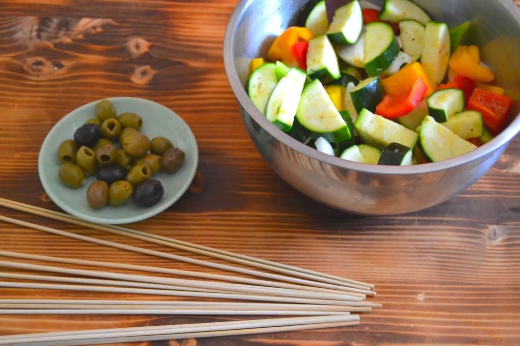 ingrédients brochettes de légumes