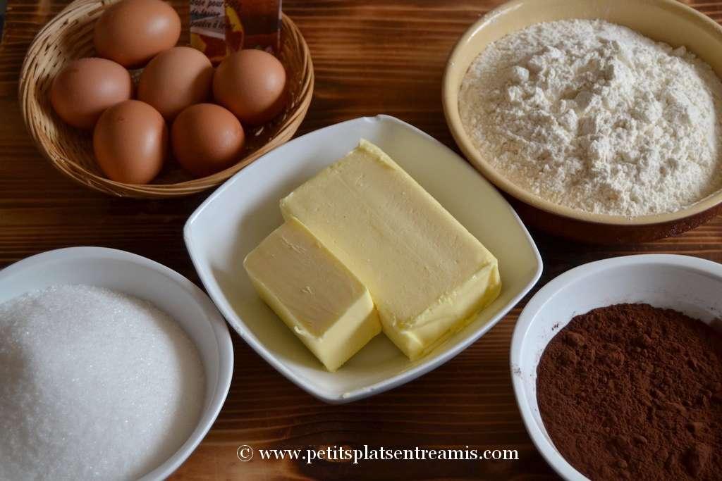 ingrédients pour cupcakes au chocolat