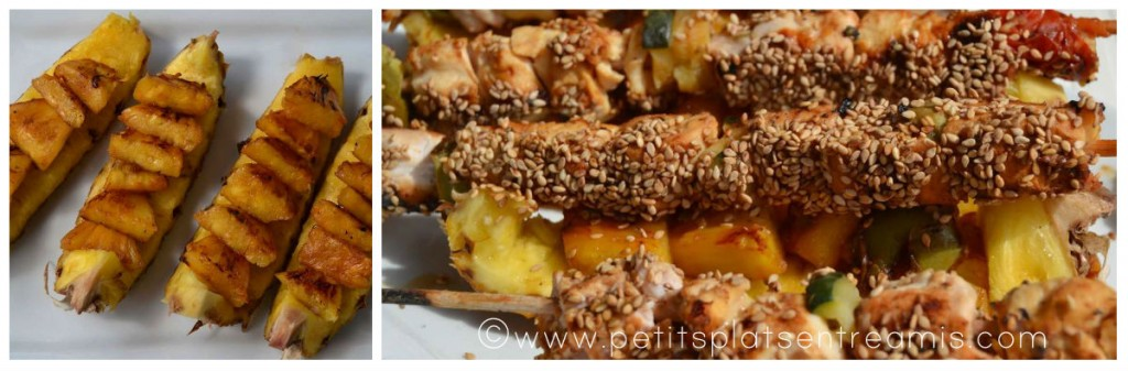 montage brochettes volailles et ananas