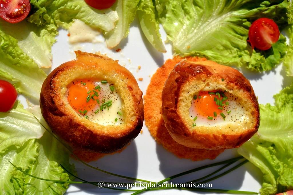 plat d'oeufs cocotte en brioche