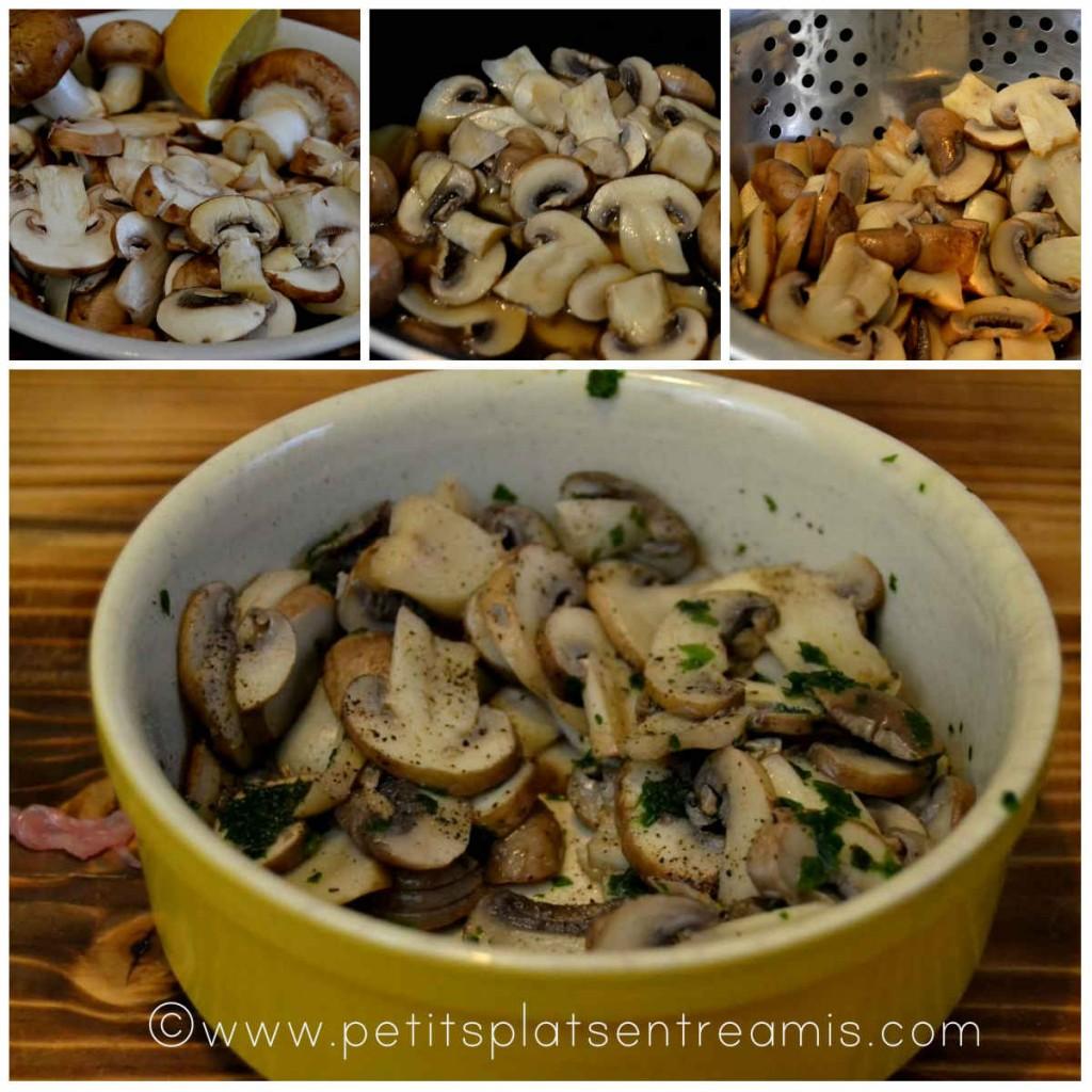 préparation champignons pour escalope de veau farcie