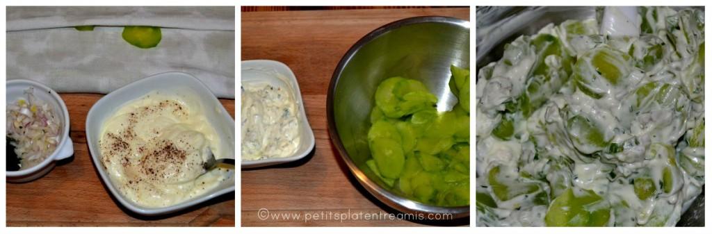 préparation concombre à la crème