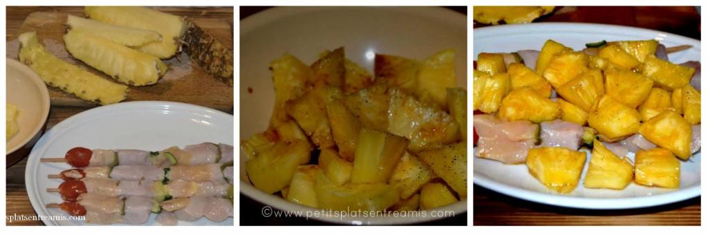 préparation des brochettes à l'ananas