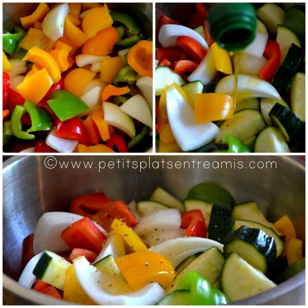 préparation légumes pour brochettes