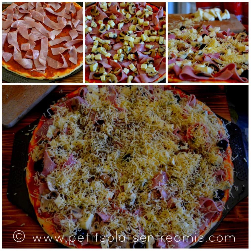 préparation pizza jambon 3 fromages