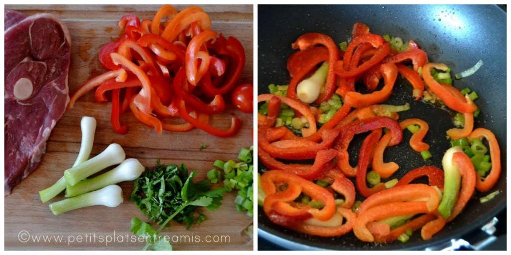préparation des légumes pour tranches de gigot