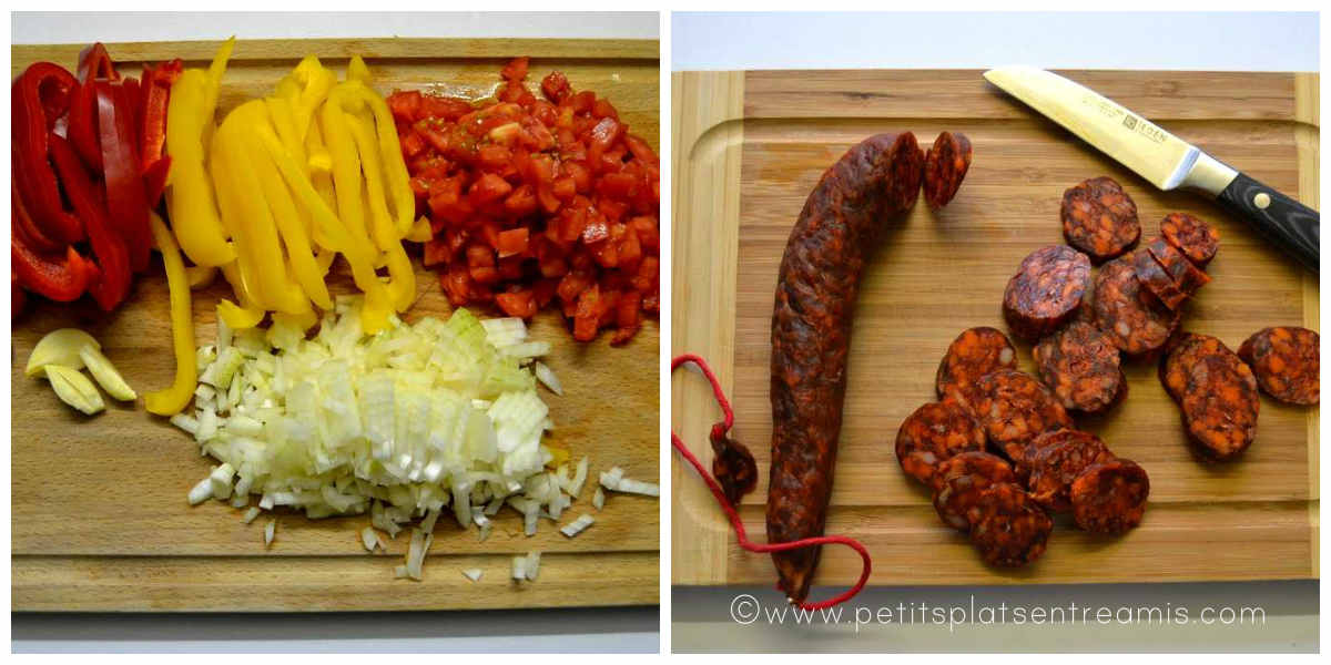 coupe d'ingrédients pour paella