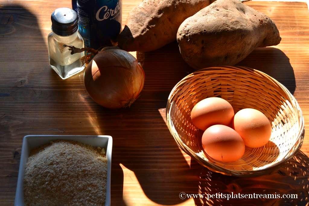 ingrédients pour galettes de patates douces
