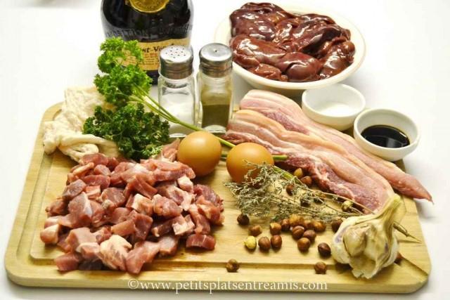 ingrédients pour terrine de foies de volailles